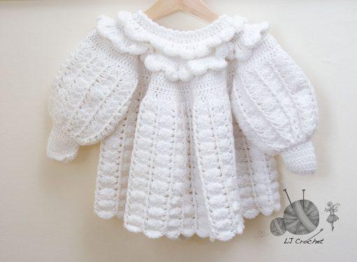 Crocheted White Ruffle Coat and Hat