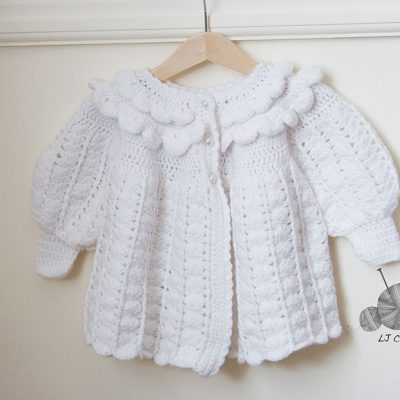 Crocheted White Ruffle Coat and Hat