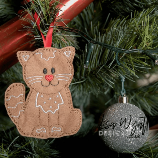 Gingerbread Cat Hanging Christmas Decoration