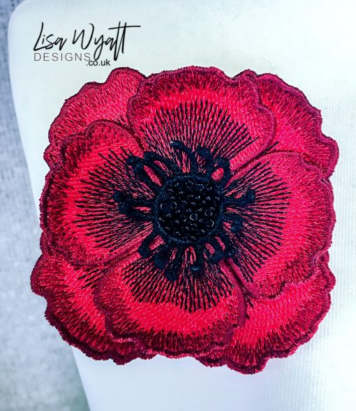 FSL Red Poppy Brooch