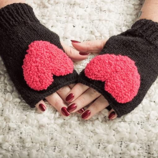 Black Fingerless Gloves With Heart Detail