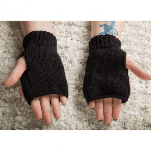 Black Fingerless Gloves With Heart Detail Palms