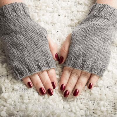 Grey Fingerless Gloves