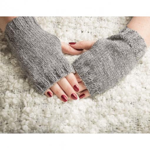 Grey Sparkly Fingerless Gloves
