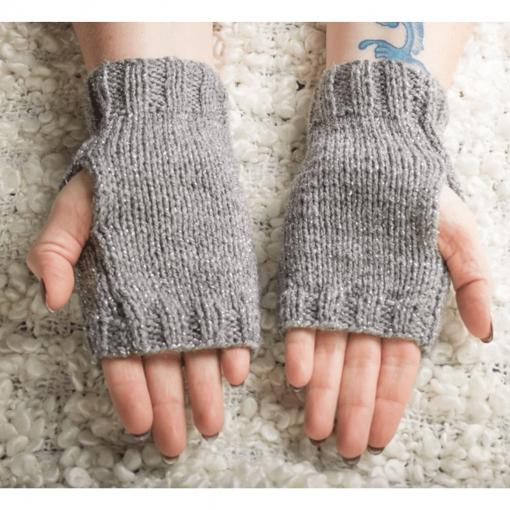 Grey Sparkly Fingerless Gloves Palms