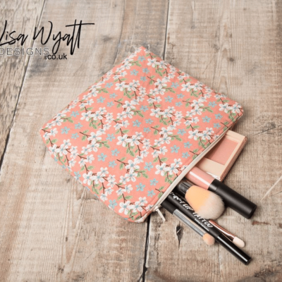 Peach Floral Make Up Bag