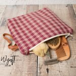 Checkered Wash Bag With Leather Strap