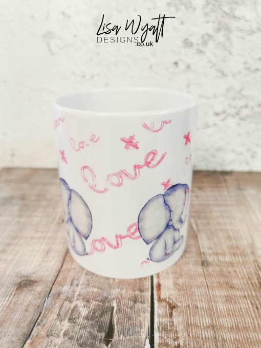 Valentines Mug with Baby Elephant and Heart Balloon I Love You