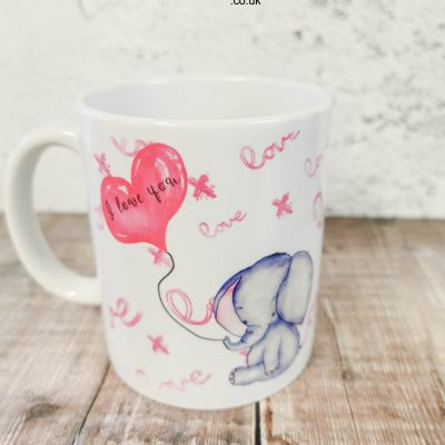 Valentines Mug with Baby Elephant and Heart Balloon