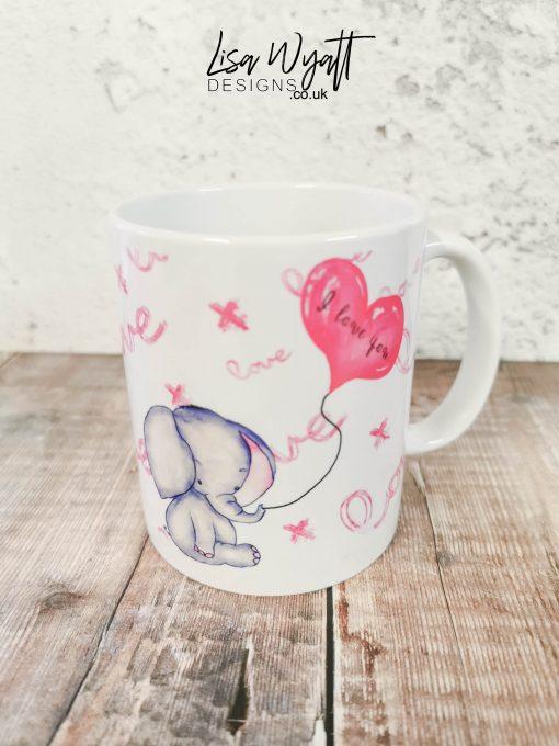 Valentines Mug Baby Elephant I Love You