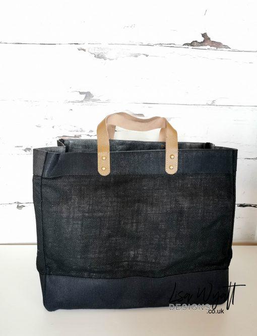 Luxury Large Leather Handle Jute Tote Bag Black
