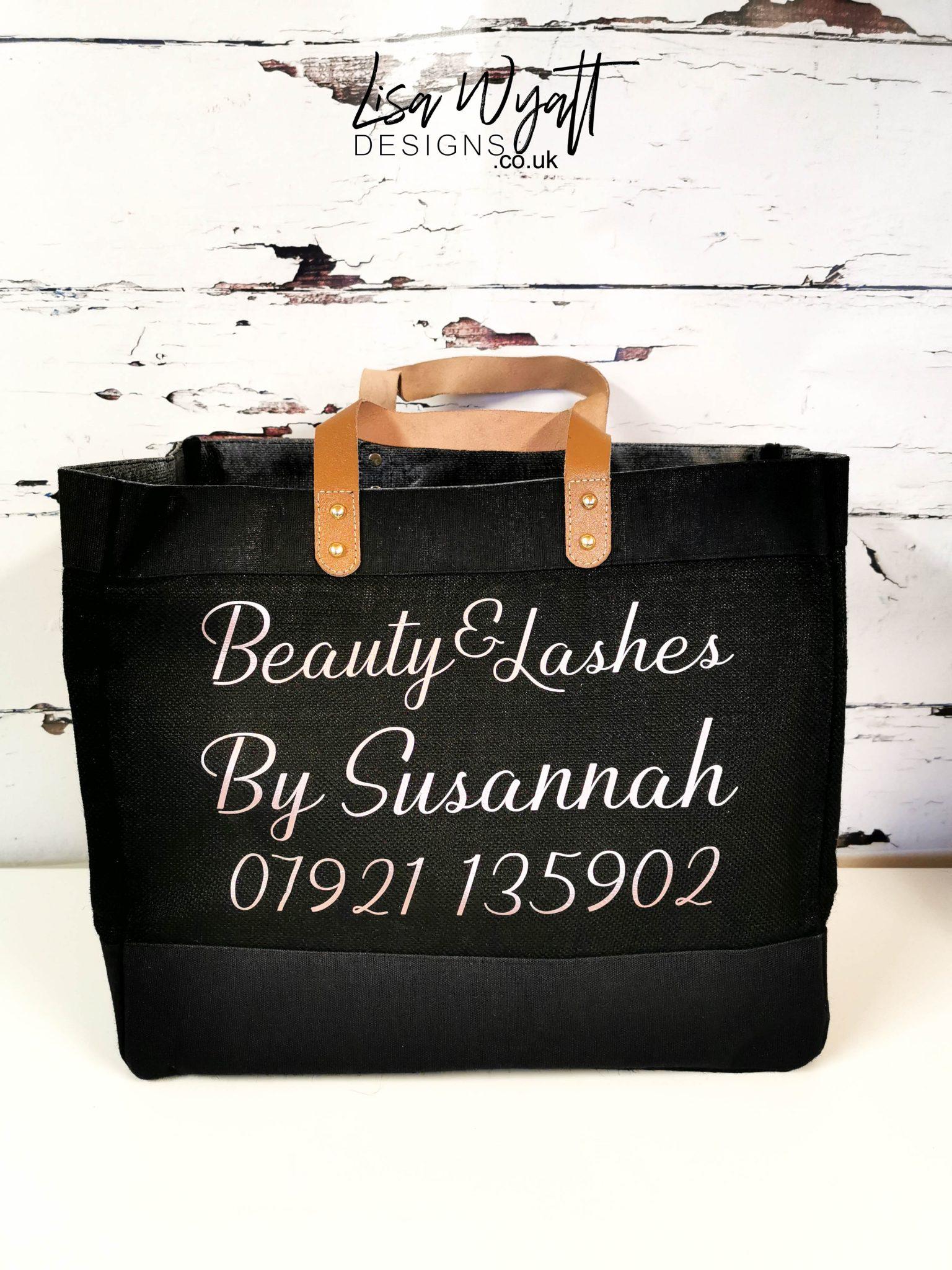 Luxury Large Leather Handle Jute Tote Branded Bag Black