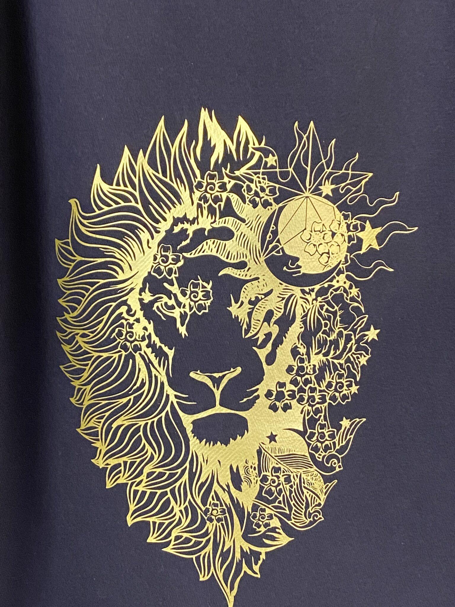 Close up of Gold Lion Design