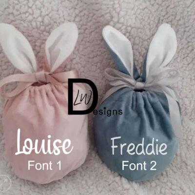 Personalised Bunny Ears Velvet Pouch