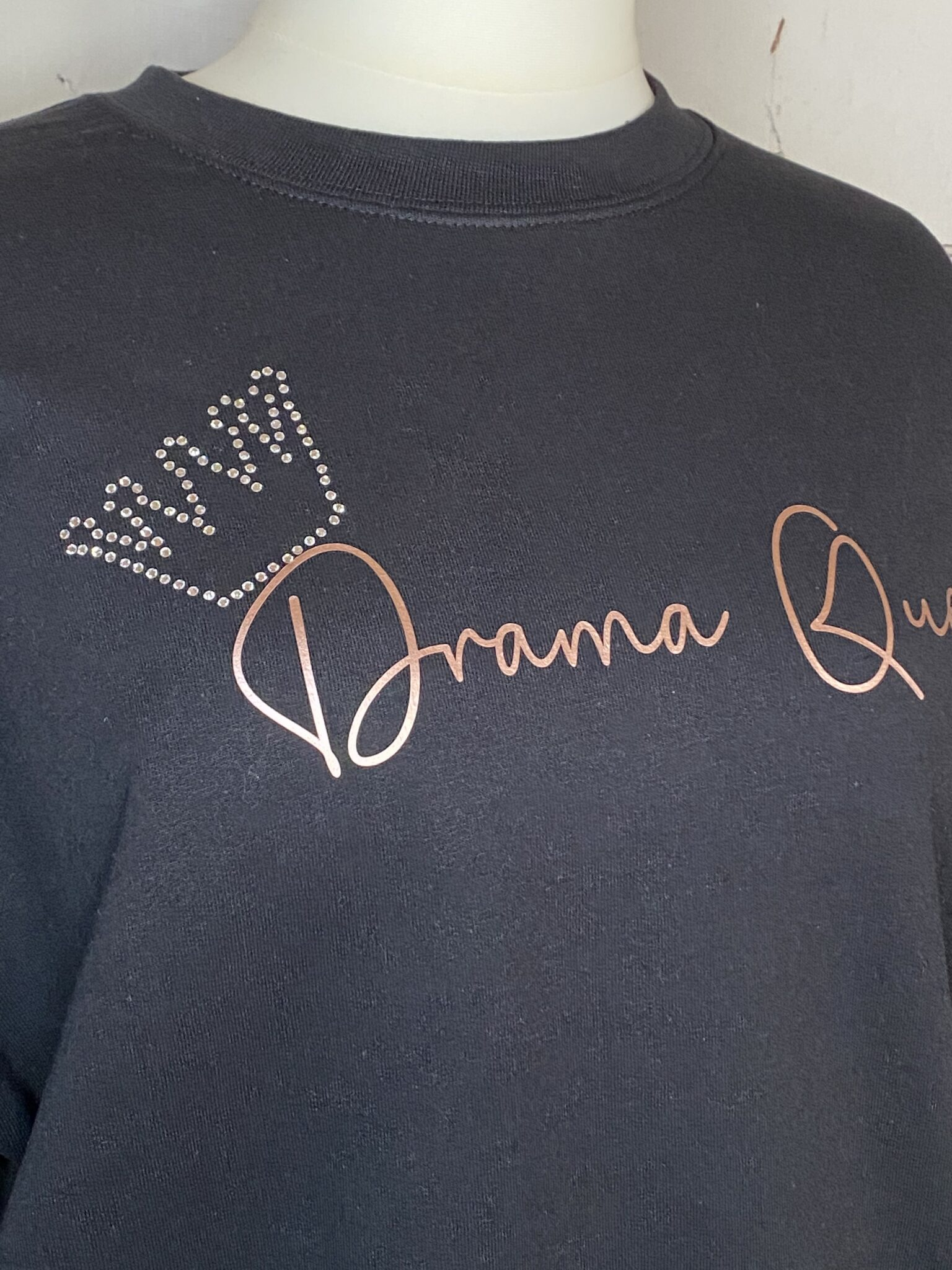 Drama Queen Rhinestone Sweatshirt Close Up
